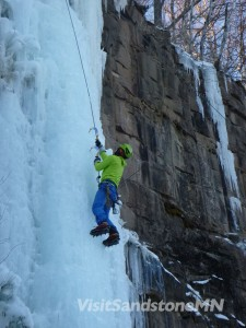 ice climber in sandstone mn
